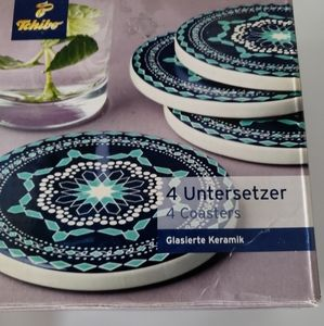New in box Set of 4 glazed ceramic coaster